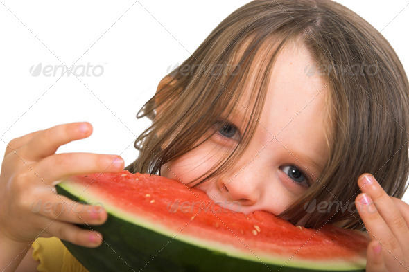 Girl with watermelon13 - Stock Photo - Images
