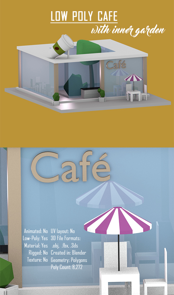 Low Poly Cafe with Inner Garden - 3DOcean Item for Sale