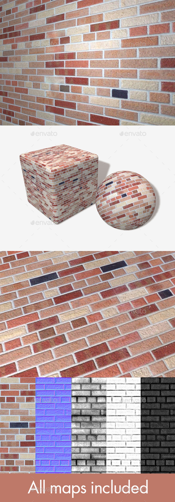 Modern Brick Wall Seamless Texture - 3DOcean Item for Sale
