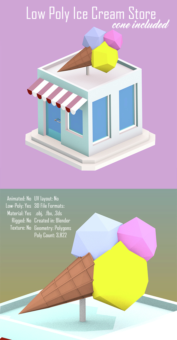 Low Poly Ice Cream Store - 3DOcean Item for Sale