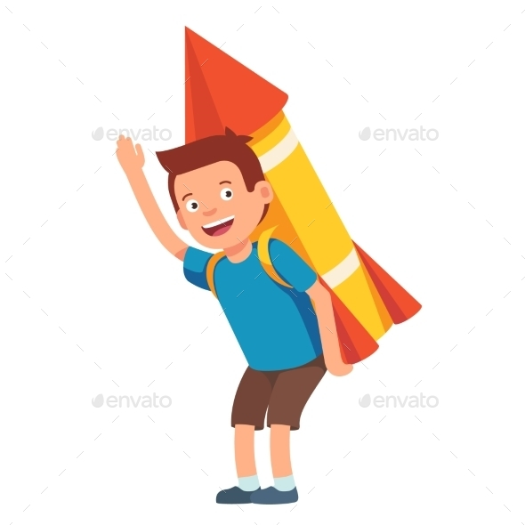 Boy Playing with Cardboard Space Rocket