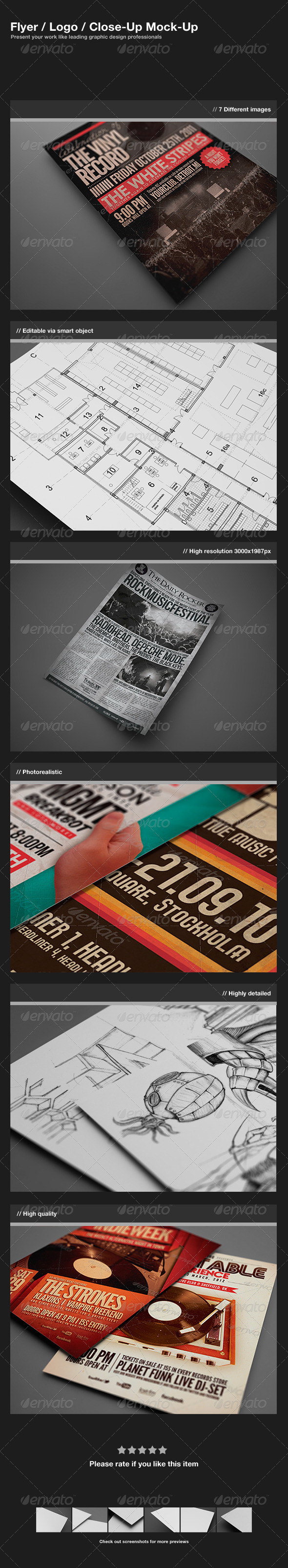 Flyer / Logo / Close-Up Mock-Up - Flyers Print