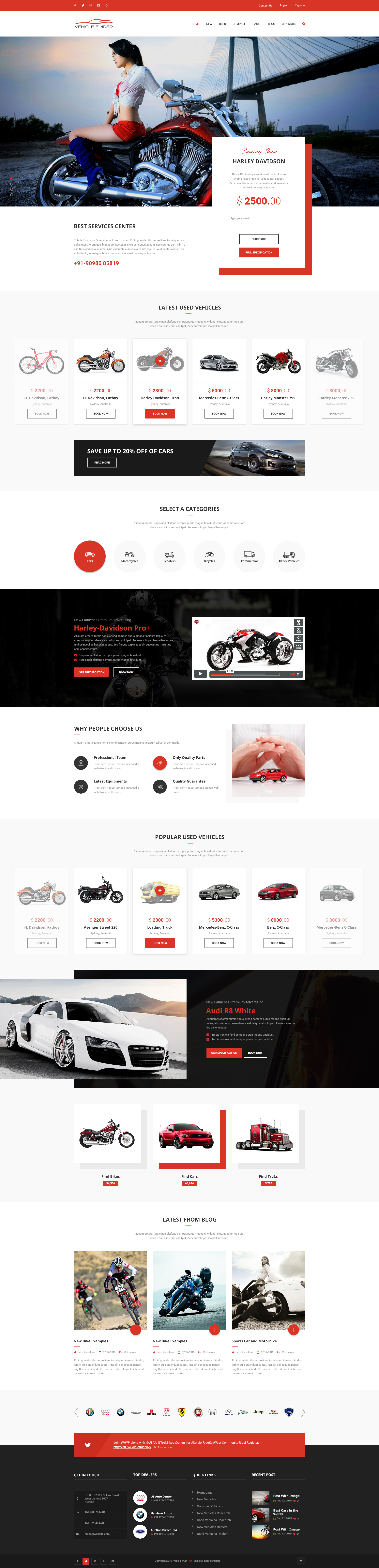 Vehicle Finder and Booking PSD Template