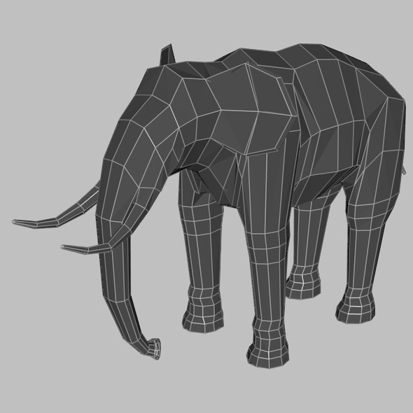Low Poly Base Mesh Elephant - 3DOcean Item for Sale