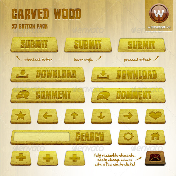 GraphicRiver Carved Wood 3D Button Pack 180088