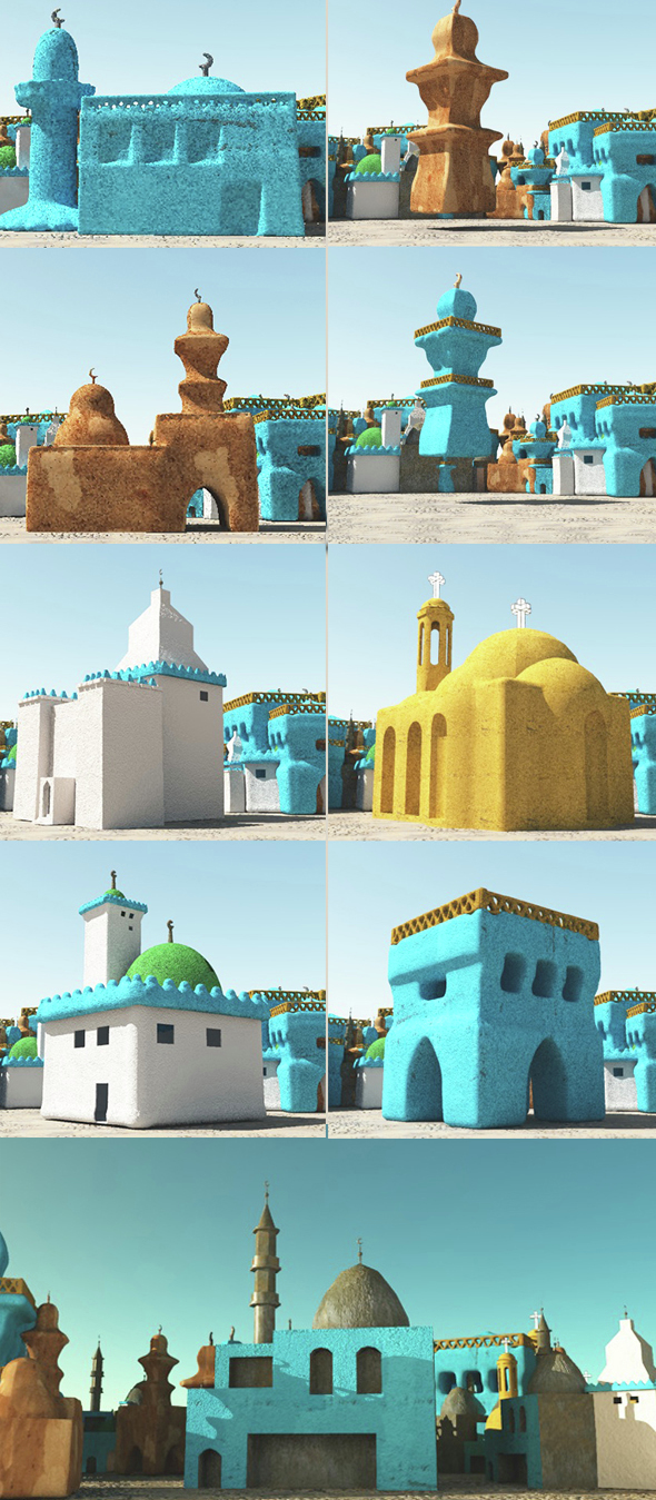 Nubian Religious Buildings - 3DOcean Item for Sale