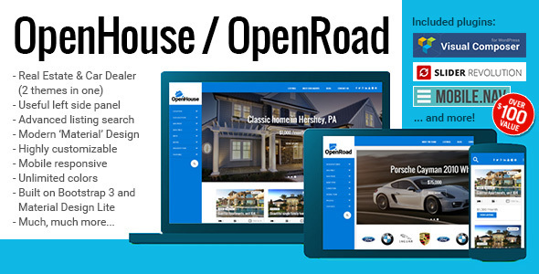 5 - OpenHouse Real Estate and OpenRoad Car Dealer Responsive Material WordPress Theme