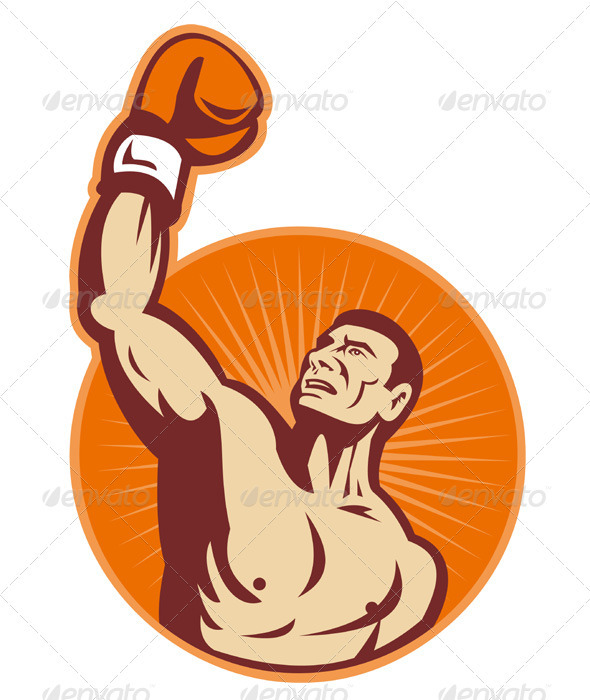 GraphicRiver Boxer With Boxing Gloves Retro 1524527
