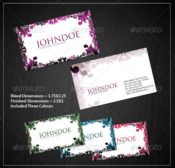 GraphicRiver Stylish Floral Business Card Set 180153