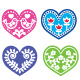 Folk Art Hearts with Flowers and Bird Icons Set