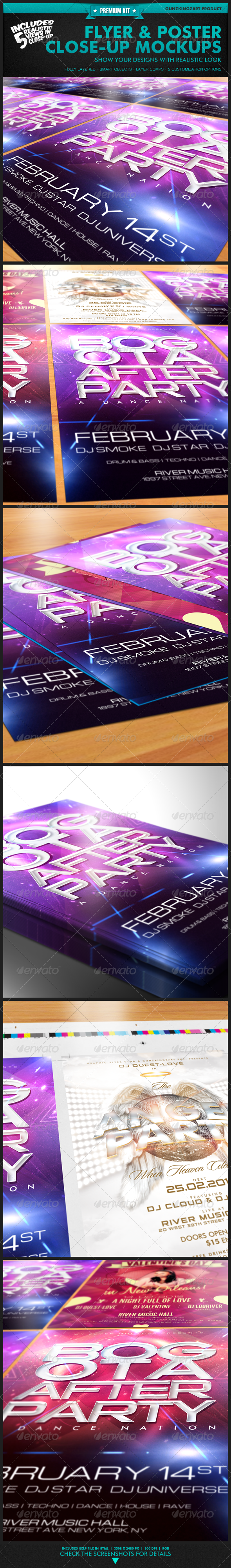 Flyer & Poster Close-Up Mockups - Premium Kit - Flyers Print