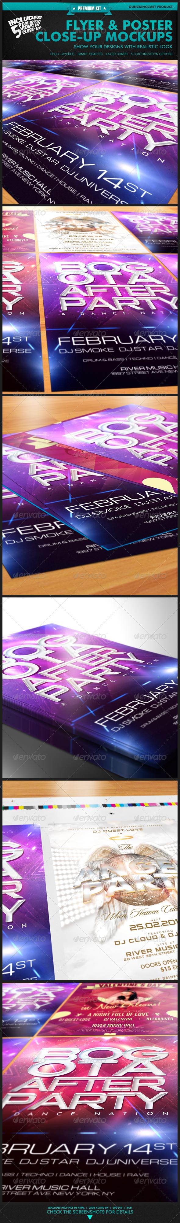 GraphicRiver Flyer & Poster Close-Up Mockups Premium Kit 1495825