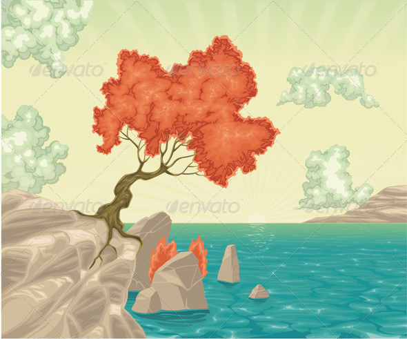Romantic landscape - Characters Vectors