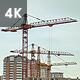 Working Construction Cranes