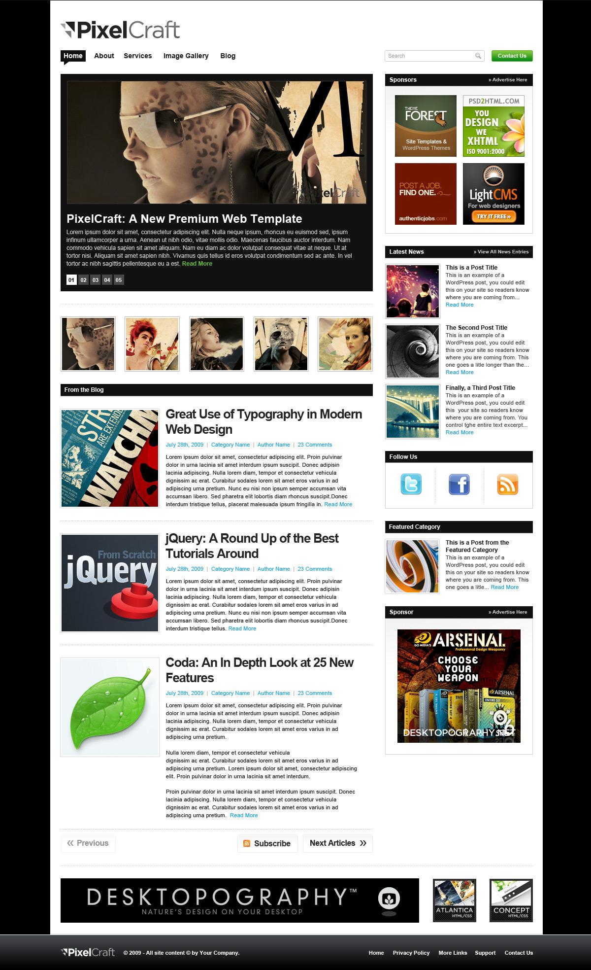 PixelCraft - HTML/CSS Premium Web Template