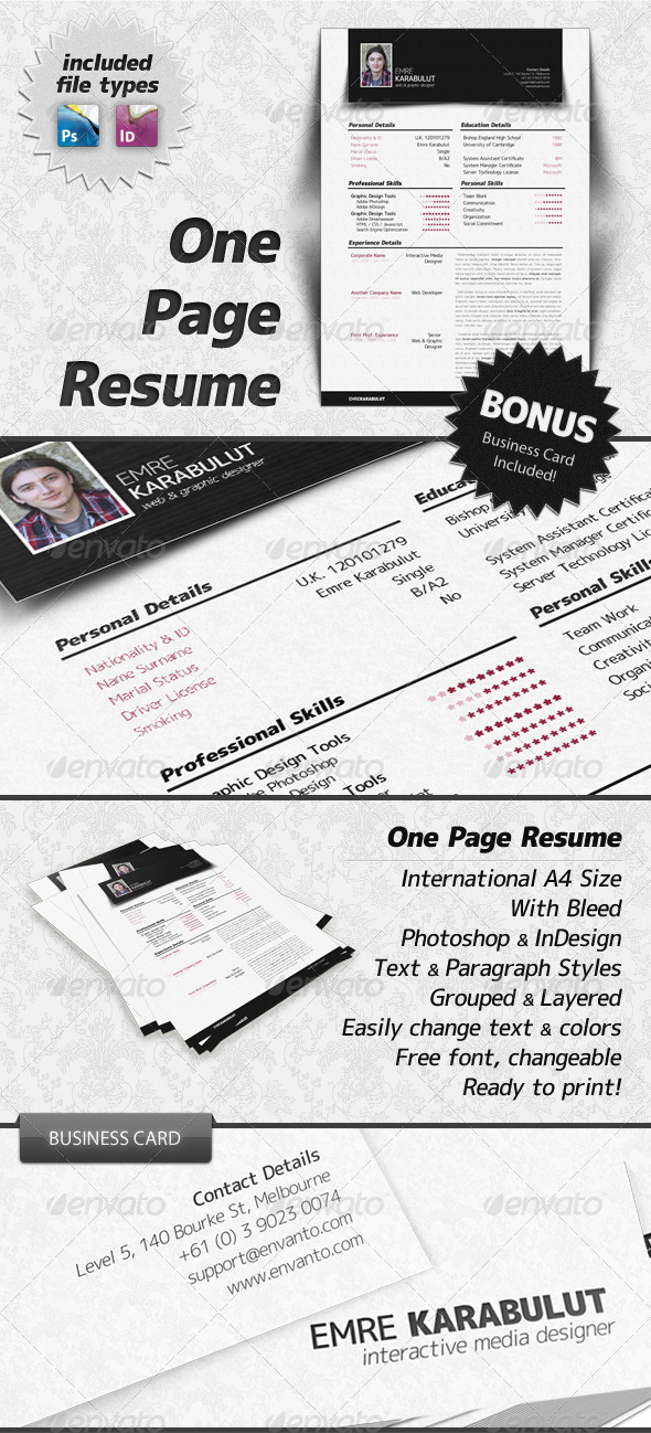 GraphicRiver Minimalist One Page Resume CV 179559