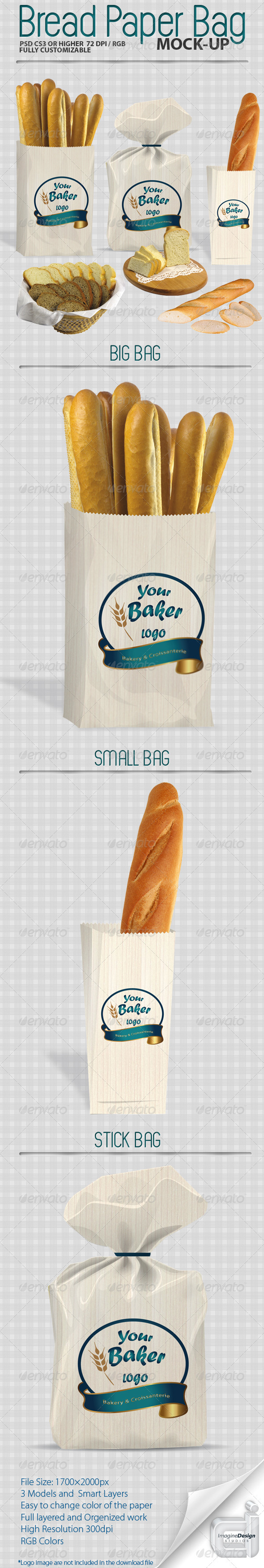 Bread Paper Bag Mock-up - Food and Drink Packaging