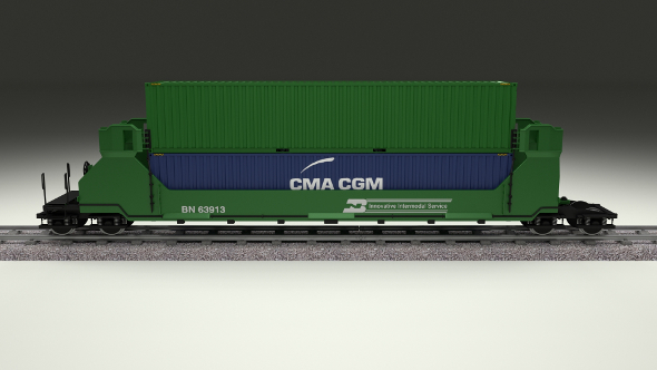 Green Train Well Car w Containers - 3DOcean Item for Sale