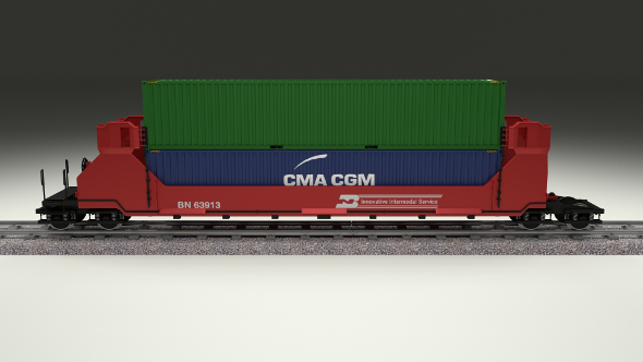Red Train Well Car w Containers - 3DOcean Item for Sale