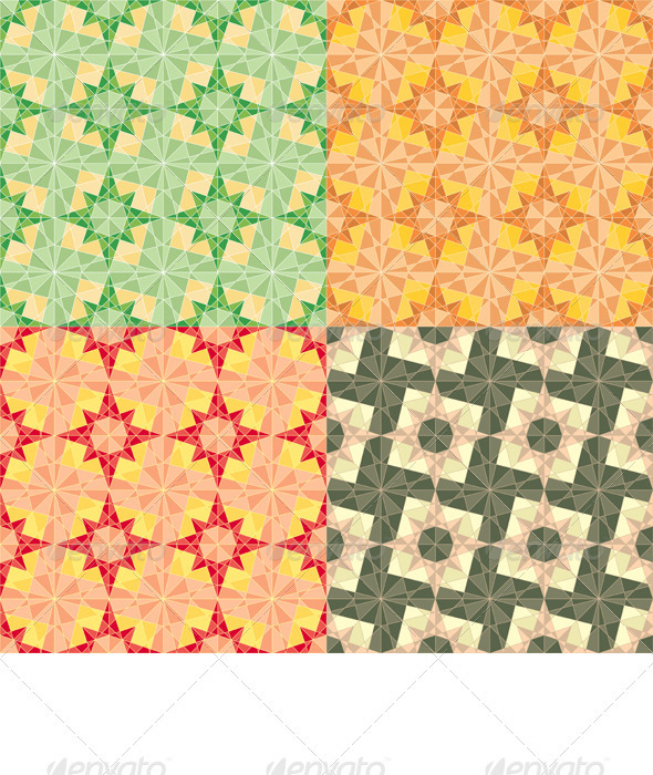 Vector Seamless Set Geometric Pattern - Backgrounds Decorative