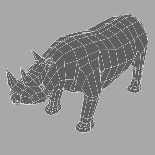 Low Poly Base Mesh Rhino - 3DOcean Item for Sale