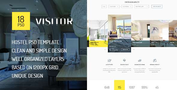 Visitor — Online Hostel, Hotel Booking PSD Template