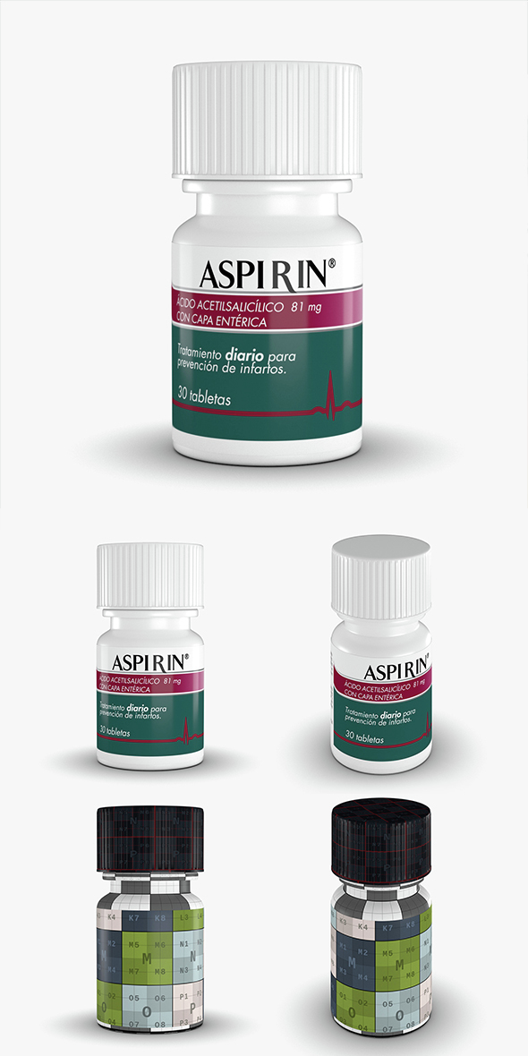 Aspirin Bottle - 3DOcean Item for Sale