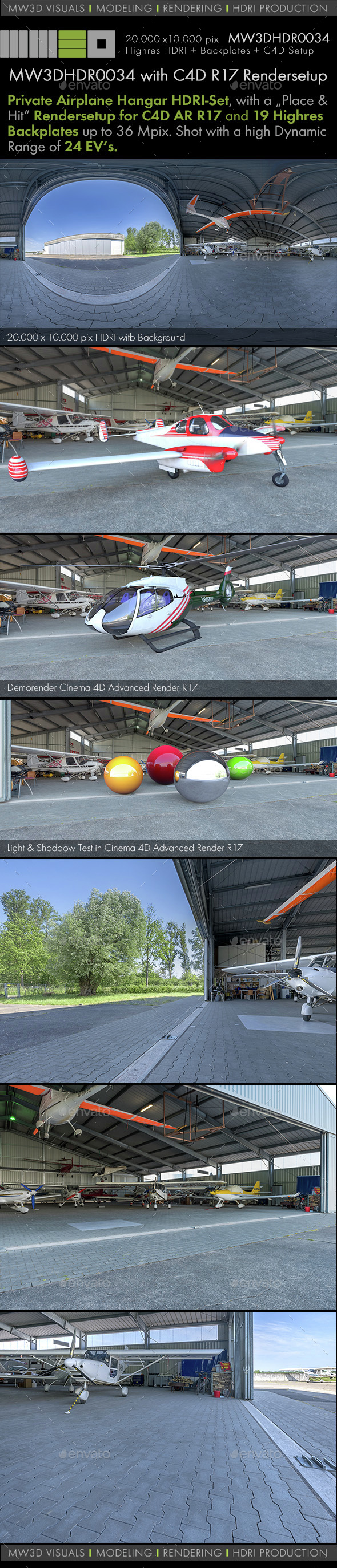 MW3DHDR0034 Aviation-Shop / Airplane Hangar HDRI Set - 3DOcean Item for Sale