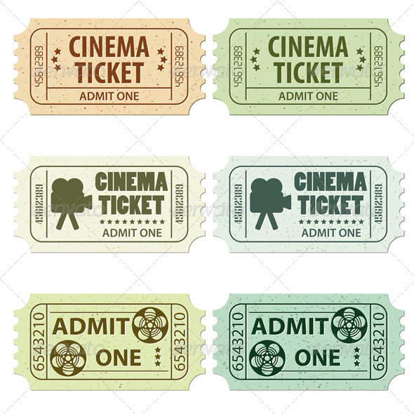 GraphicRiver Set Cinema Ticket 1528591