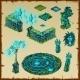 Ancient Location Maya Glow, Green Stone And Glass