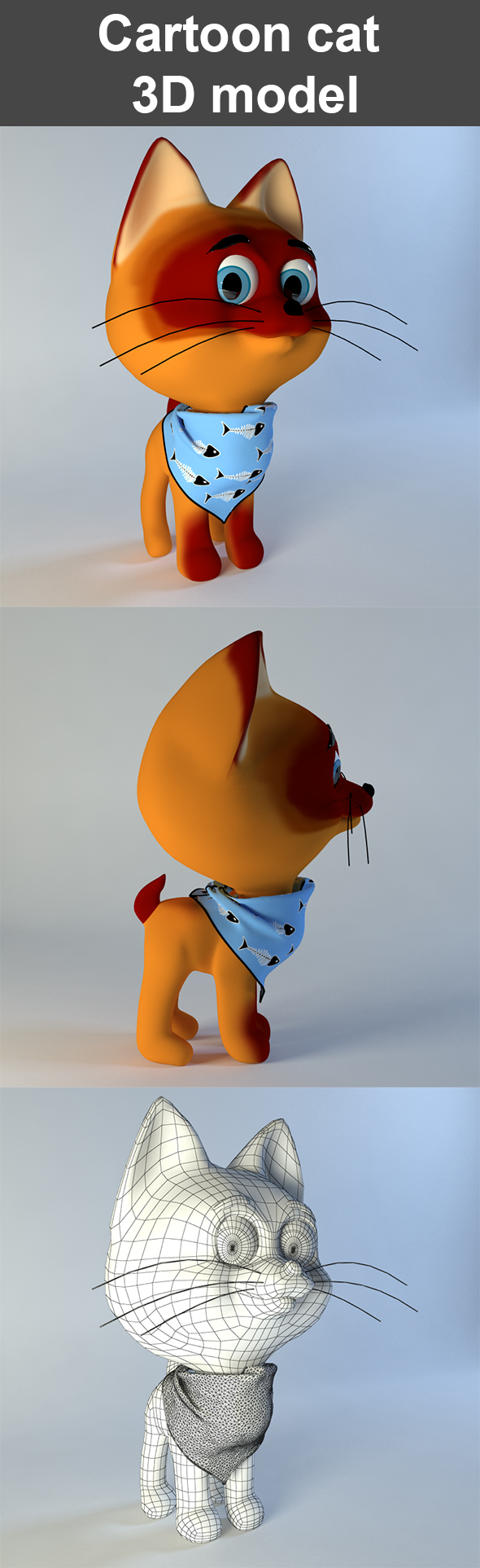 Kitten from cartoon 3D model - 3DOcean Item for Sale