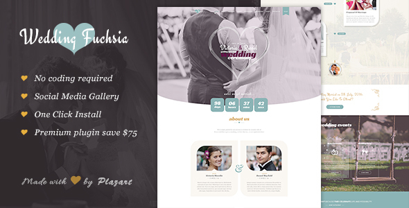 6 - Wedding Fuchsia - WordPress Wedding Theme