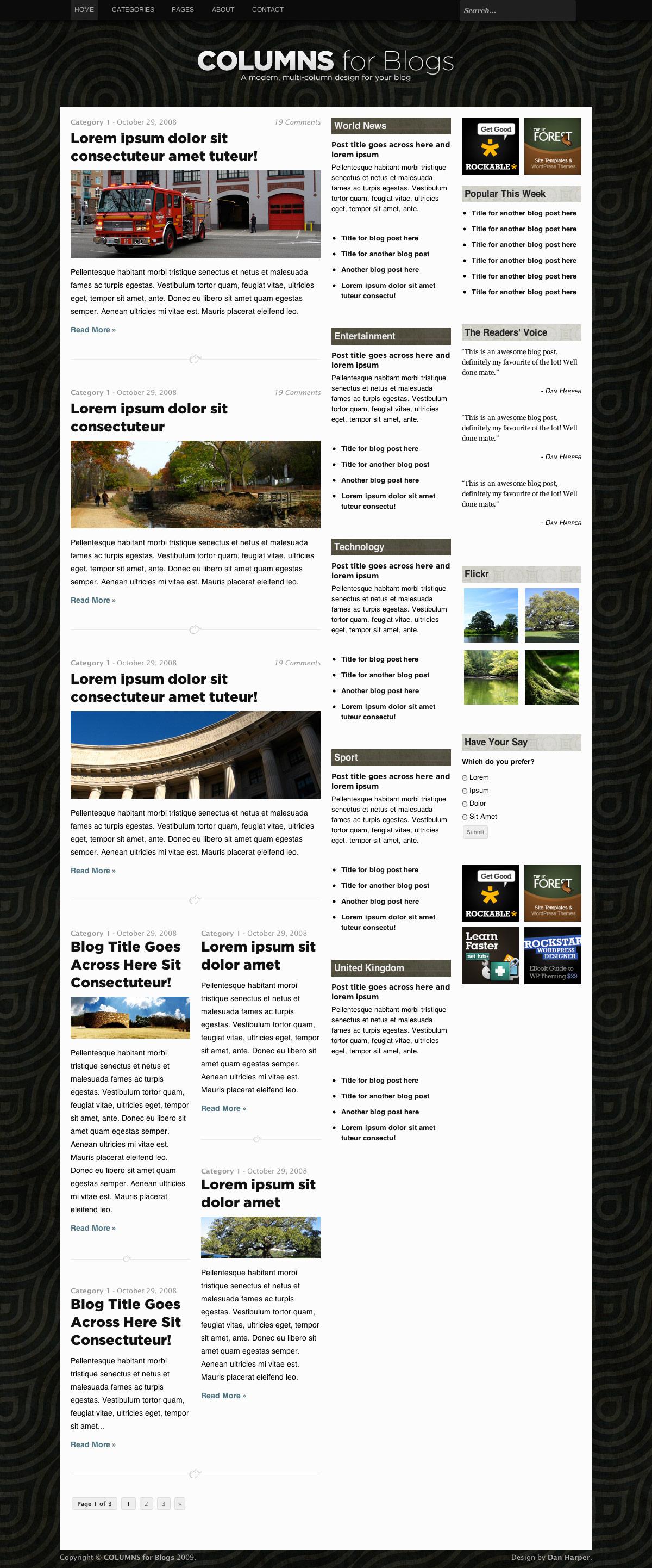 COLUMNS Blog Design - 3-column home page