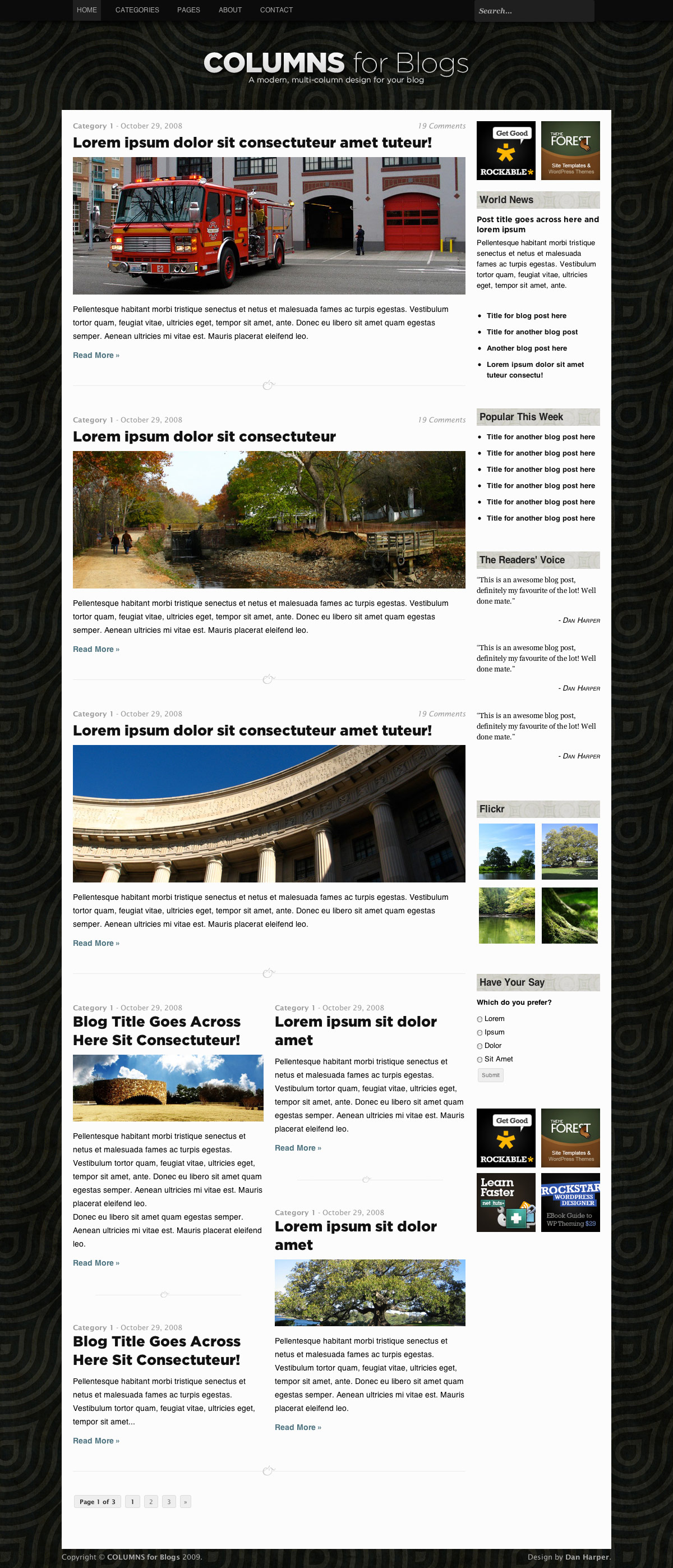 COLUMNS Blog Design - 2-column home page