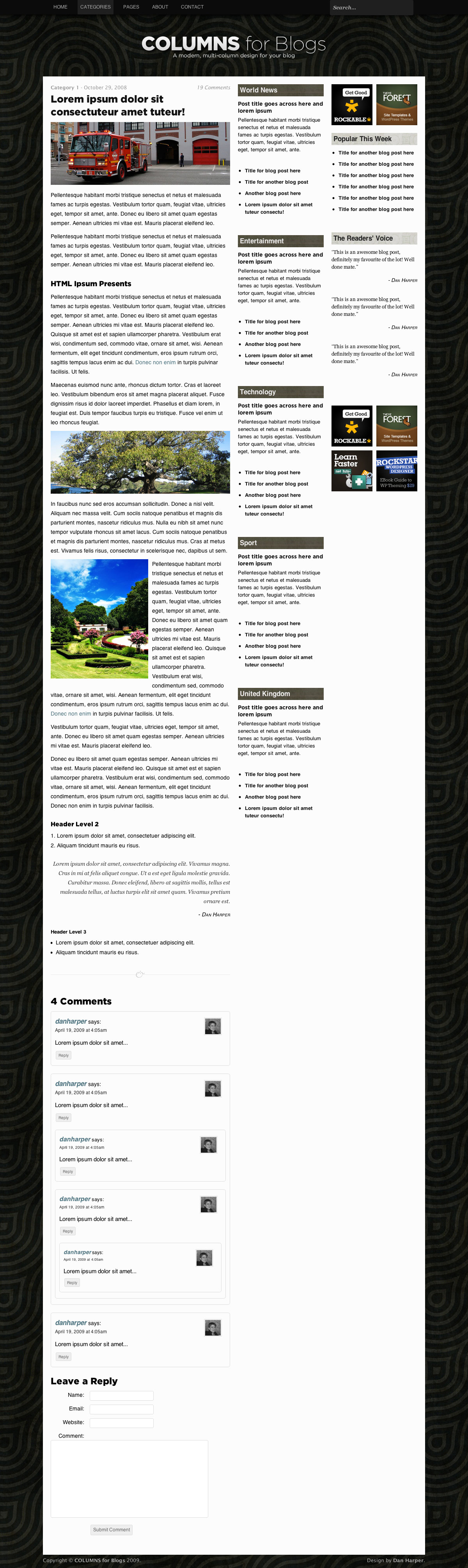 COLUMNS Blog Design - 3-column single post & comments page