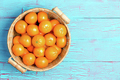 Top down view of clementines in basket