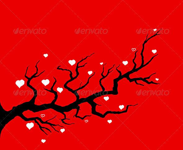 Red Cherry Tree Illustration
