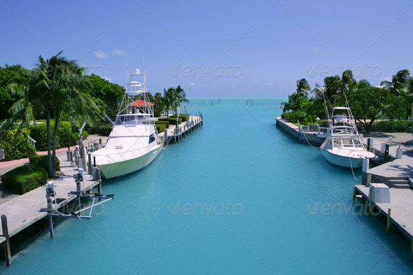 PhotoDune Florida Keys fishing boats in turquoise waterway 1535878