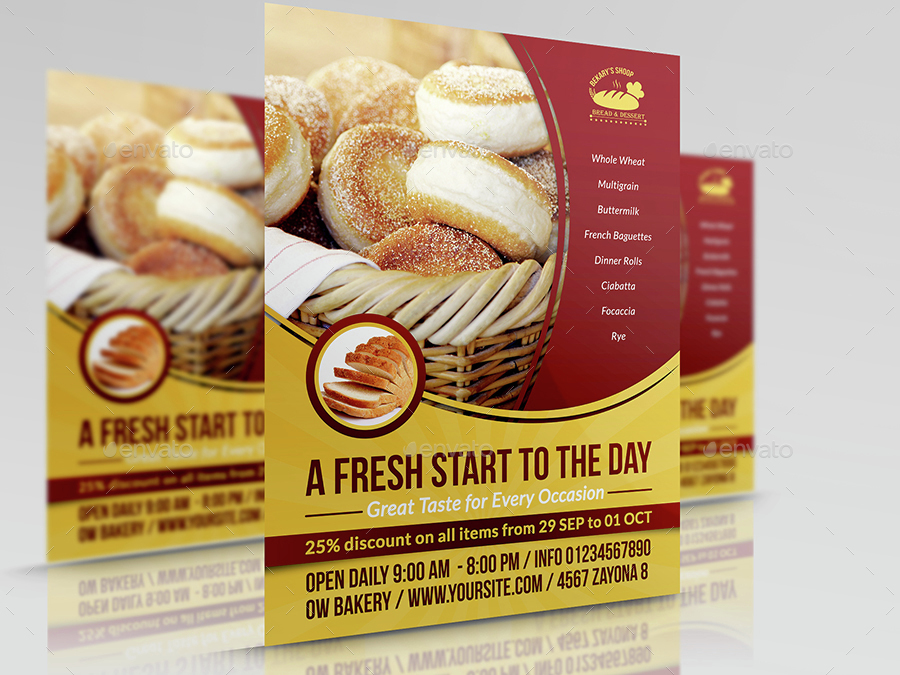 Bakery Flyer Template Vol.3 by OWPictures   GraphicRiver