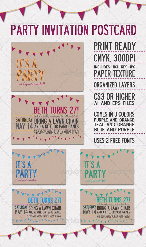 GraphicRiver Party Invitation Postcard 180659