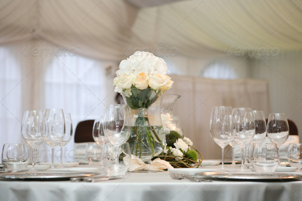 Table set for an event party or wedding reception - Stock Photo - Images