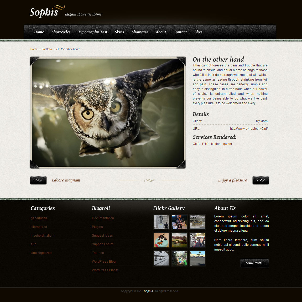 Sophis - elegant theme  - Single showcase/portfolio item details