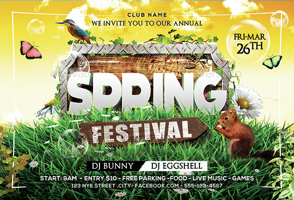 Easter Spring Party Flyer by Arrow3000 – Spring Party Flyer