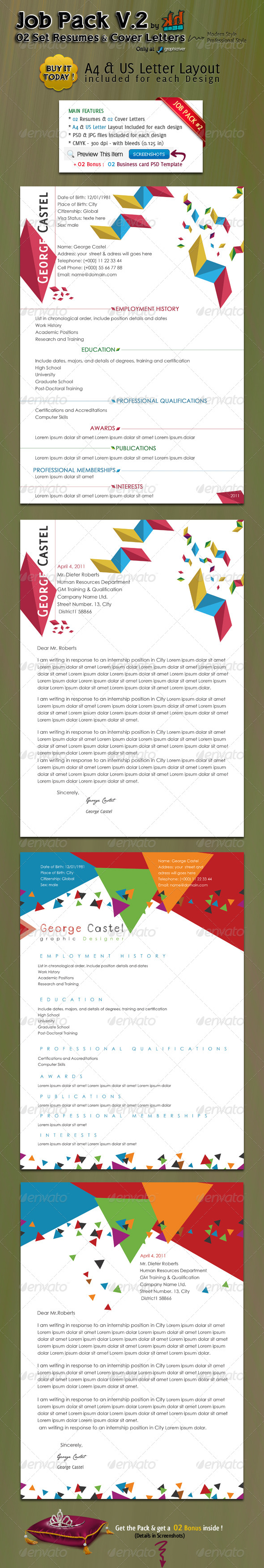 GraphicRiver JOB PACK V.2 2 Resumes with their Cover Letters 180740