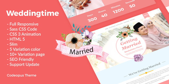 16. Wedding Time - Responsive Wedding Time Themes