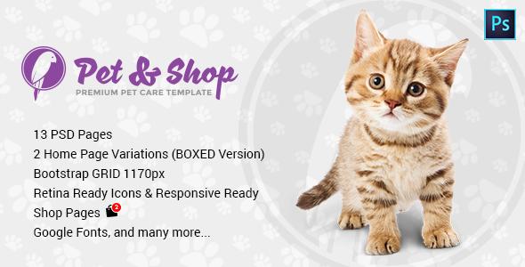 Pet & Shop | Premium Pet Care PSD Template