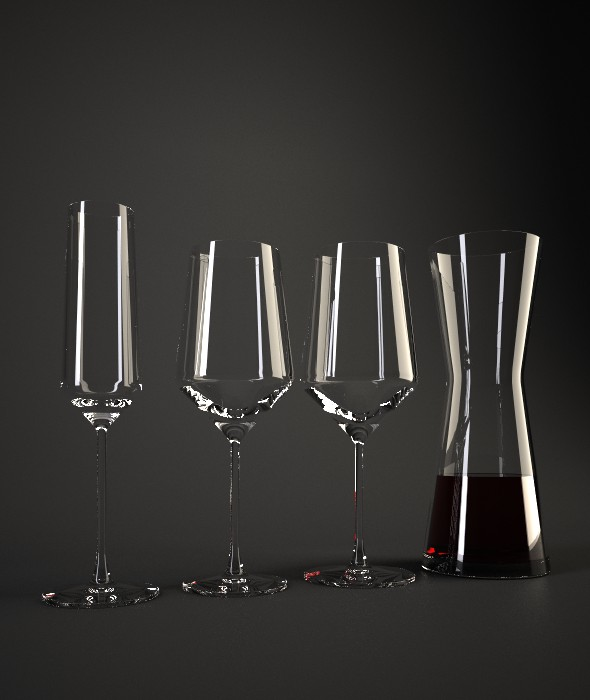 Schott Zwiesel Pure Wine Glasses and Decanter - 3DOcean Item for Sale