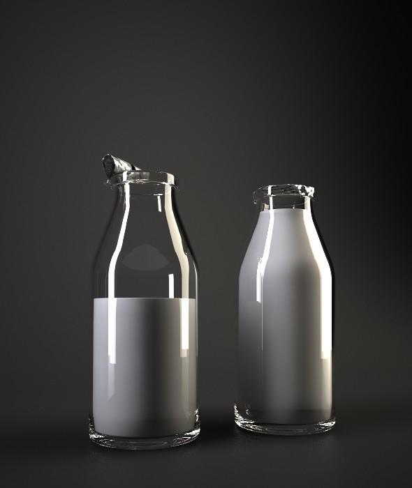 Milk Bottles - 3DOcean Item for Sale