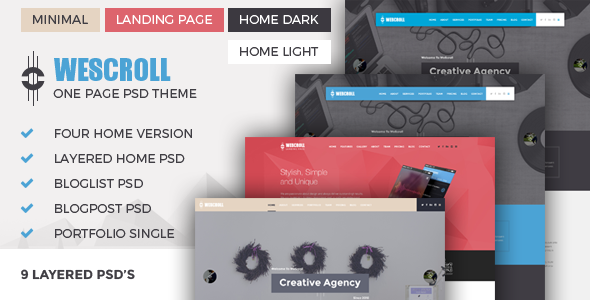 WeScroll One Page PSD Theme