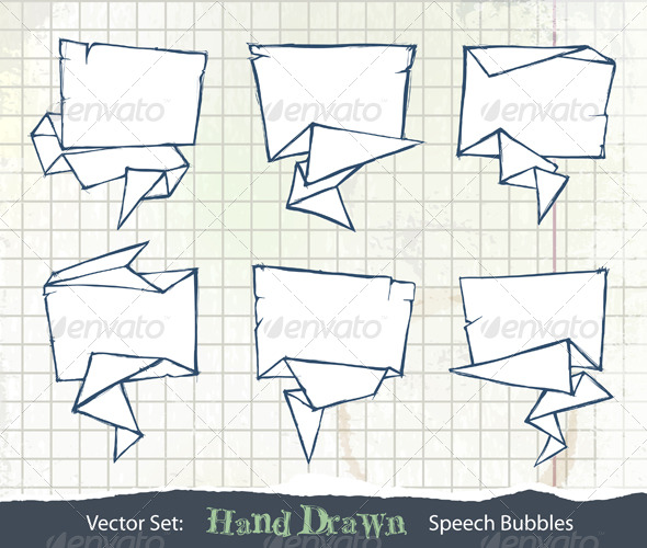 Set of Hand-Drawn Origami Speech Bubbles - Decorative Symbols Decorative